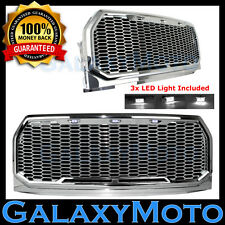 15-17 Ford F150 Raptor Chrome Front Hood Mesh Grille+Shell+White 3x LED Light