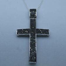 2Ct Round Cut Black Diamond Cross Pendant Solid 14K White Gold Finish Free Chain