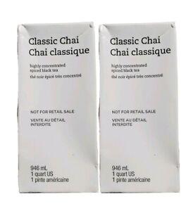 Starbucks (2 Pack) Classic Chai Concentrate Spiced Black Teas Lattes 1QT 9/21
