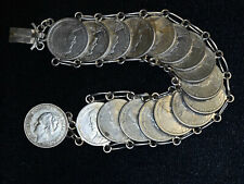 Netherlands 25 Cents 1911-1925 silver Wilhelmina I Bracelet 17 Coins Beautiful