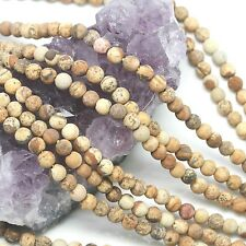 98  pcs 4mm Matte Picture Jasper Round Loose Spacer Gemstone Beads