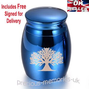 Blue Tree Mini Cremation Ashes Urn - Funeral Memorial Keepsake - with Gift Box