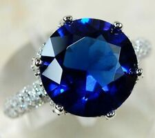 SALE 7CT Blue Sapphire & Topaz 925 Solid Sterling Silver Ring Jewelry Sz 7, M1