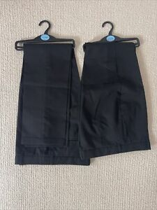 NEW 2  Pairs M&S Black School Trousers Age 15 To 16 Years