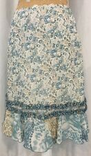 A-List By Wrapper Skirt M Ruffle Multi-Color Blue Floral Below Knee Poly Modest