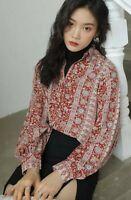Summer Indian Ethnic Ivory Blue Print Rust Designer Urban Chic Blouse Shirt  12