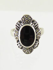 Large Vintage Old Solid Silver Marcasite & Onyx Ring 1940s