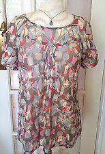 DKNY Jeans Sheer Retro Blouse Abstract Gray Red Green Baby Doll Pleat detail S