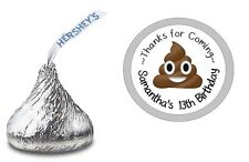 108 POOP POO EMOJI HERSHEY KISS KISSES LABELS STICKERS BIRTHDAY PARTY FAVORS