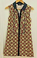 Cue Dress 8 Womens Dress Button Front Collar Cotton  Retro Print Sleeveless EUC