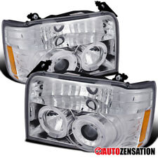 For 1992-1996 Ford F150 F250 F350 Bronco Clear Halo Rims Projector Headlights