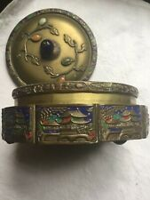 Chinese Antique Brass Cloisonne Enamel Box peking glass finial incised signed