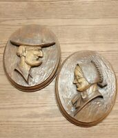 VINTAGE ANDREW MALCOLM FURNITURE CO. LISTOWEL ONT. FOLK ART WALL PLAQUES