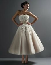 Justin Alexander 8465 Tea Length Wedding Dress Ivory/Natural size 8