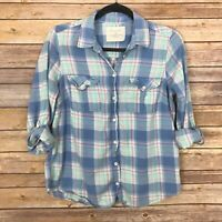 Sonoma Life Style Womens Casual Button Down Shirt Checkered Long Sleeve Blue M