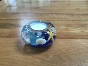GLASS CANDLE HOLDER HAND MADE -   FLORAL DESIGN OF REAL AND SILK FLOWERS(BLUE)