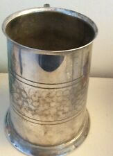 Vintage  Silver on Copper  Half Hammered  Pint Tankard