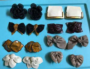 Vintage Shoe CliPs Lot  Of 8 Faux Leather - Leather-Fabric-Flowers-Bows