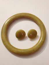 Vintage Green & Yellow Swirl Bakelite Bangle Bracelet & Earring Tested (G830)