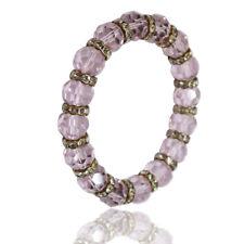 Bracciale elastico cristalli tondo faccettati light rose mm 13 e strass bianchi