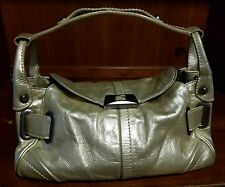 Francesco Biasia Gold Metallic Leather Shoulder Handbag