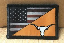 Texas Longhorns Usa Flag Morale Patch Tactical Military Army Badge