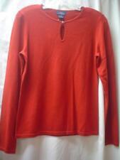 Brooks Brothers NWT Red Wine Keyhole Neckline LS 100% Merino Wool Sweater M