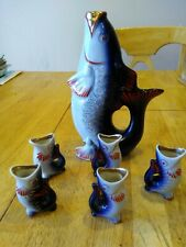 Vintage Wine Decanter and Shot Glasses from Russia, Porcelain, Hand Painted
