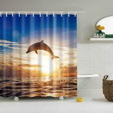 Extra Long Fabric Bath Shower Curtain with 12 Hook Dolphin Print 180x180cm