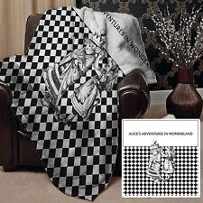"""Alice'S ADVENTURE nel paese delle meraviglie in Pile Coperta Copriletto Nero e Bianco 58"""" x 58"""""""