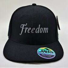 Freedom Embroidered Snap back Cap Black with Silver logo