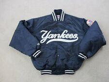 VINTAGE Majestic New York Yankees Jacket Adult Medium Blue White Baseball Mens *