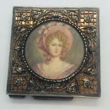 Antique 800 Italy Sterling Silver & Miniature Portrait Floral Compact Case