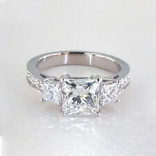 1.70 Cts VS2 H 3 Stone Princess Cut Real Diamond Engagement Ring 18k White Gold