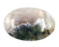 46.9ct Natural Fine Moss Agate Oval Cabochon Landscape Agate Untreated Unheated