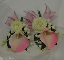 2X WEDDING FLOWER BRIDAL BOUQUETS LATEX CREAM PINK CALLA LILY CORSAGE FLOWERS
