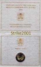 NEW !!! 2 EURO COMMEMORATIVO VATICANO 2020 FDC UFFICIALE Papa Giovanni Paolo II