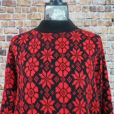 Woman Bear Crossing Christmas Sweater Size 22 Mock Neck  Red Floral Made In USA