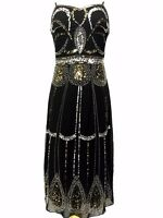 Black Vintage 1920s Flapper Gatsby Downton Abbey Fringe Beaded Dress Size 8-24