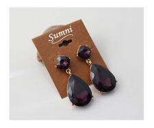 Boucles d`Oreilles Clous Art Deco Carré Goutte Violet Mauve Vintage Baroque AA 8