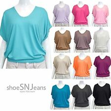 New Women Solid Cape Colors V Neck Short Sleeves Tunic Top Ribbed Banded Hem USA