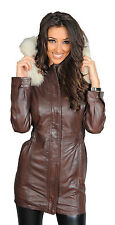 Parka Leather Jacket for Ladies With Fur Hood Mila Fitted Brown Leather Coat 10