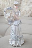 Southern Belle Bell Girl Figurine Flower Basket Silver White Home Decor