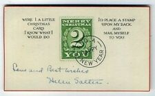ca1918 Philatelic Christmas Card faux 2 cent green Stamp theme + New Year too