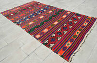 """Anatolia Turkish Kilim 70"""" x 120"""" Hand Woven Wool Vintage Jajim Rug 178 x 305 cm"""