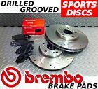 FRONT Drilled & Grooved Brake Discs & BREMBO Pads For NISSAN 200SX S14 SR20DET