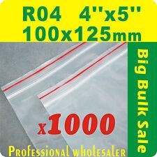 "1000 x R04 100X125mm(4""X5"") Resealable/ Zip Lock ZipLock Plastic Seal Bags"