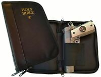 Nylon Canvas w/Faux Leather Binder Bible Gun Case For Large to Small Sized Guns