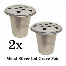 2x Metal Memorial Grave Flower Pot, Slvr Replacement Water Holder for Vase Stone