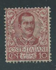 """1901 Regno d'Italia """"FLOREALE 10 cent CARMINIO"""" MNH NUOVO LUSSO**"""